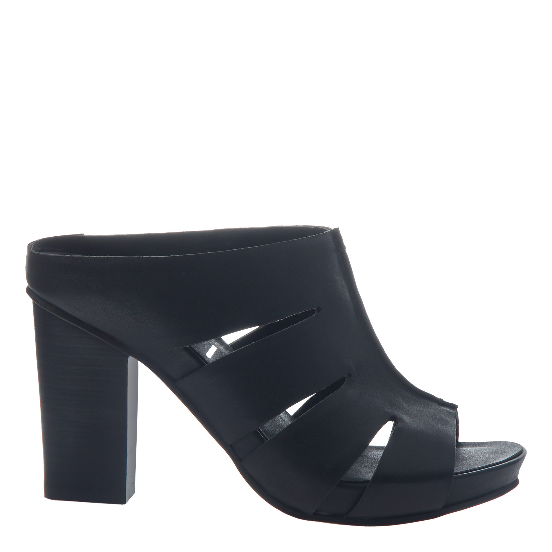 Nicole womens heeled sandal Delphine in black side view