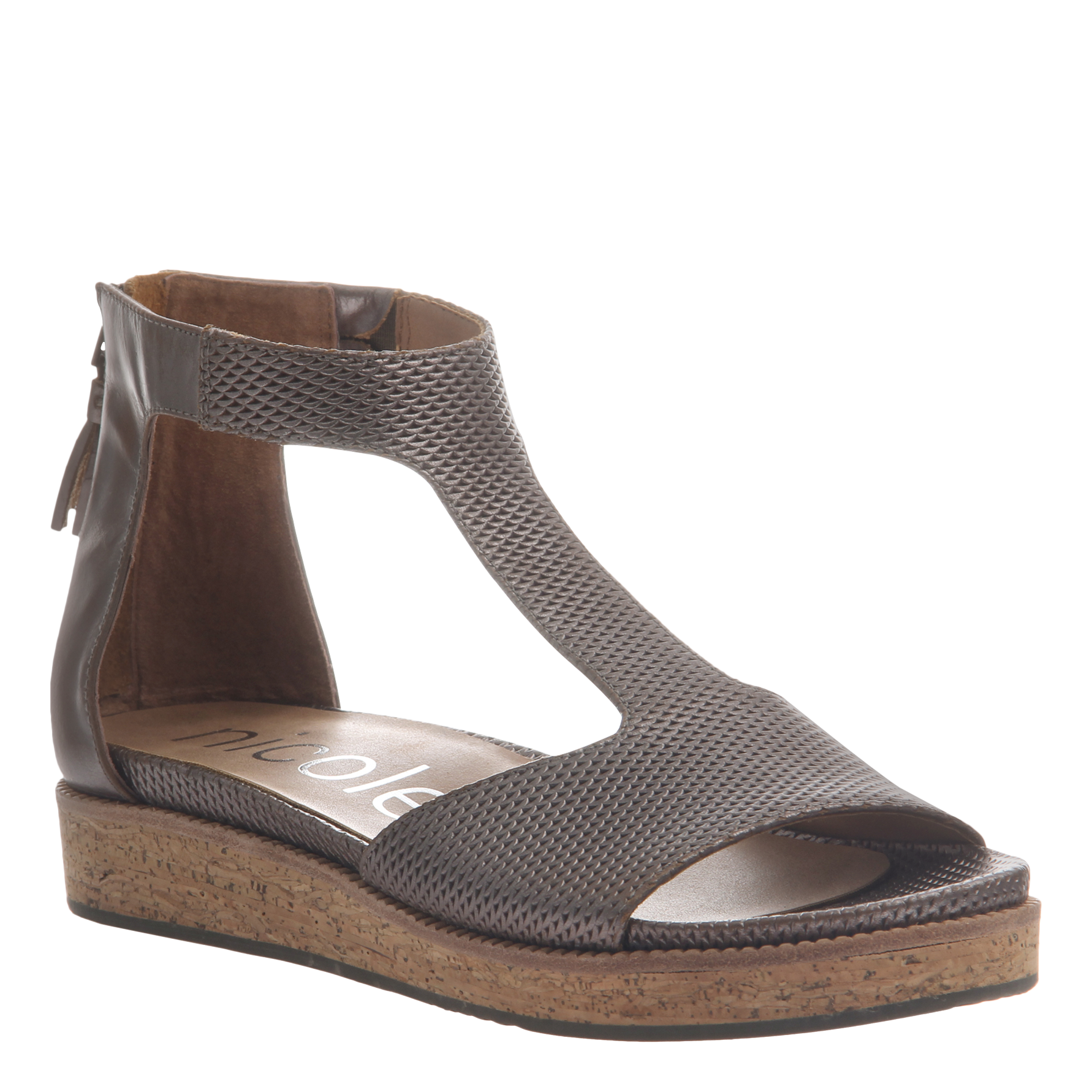 Nicole womens flat sandal lilou in pewter