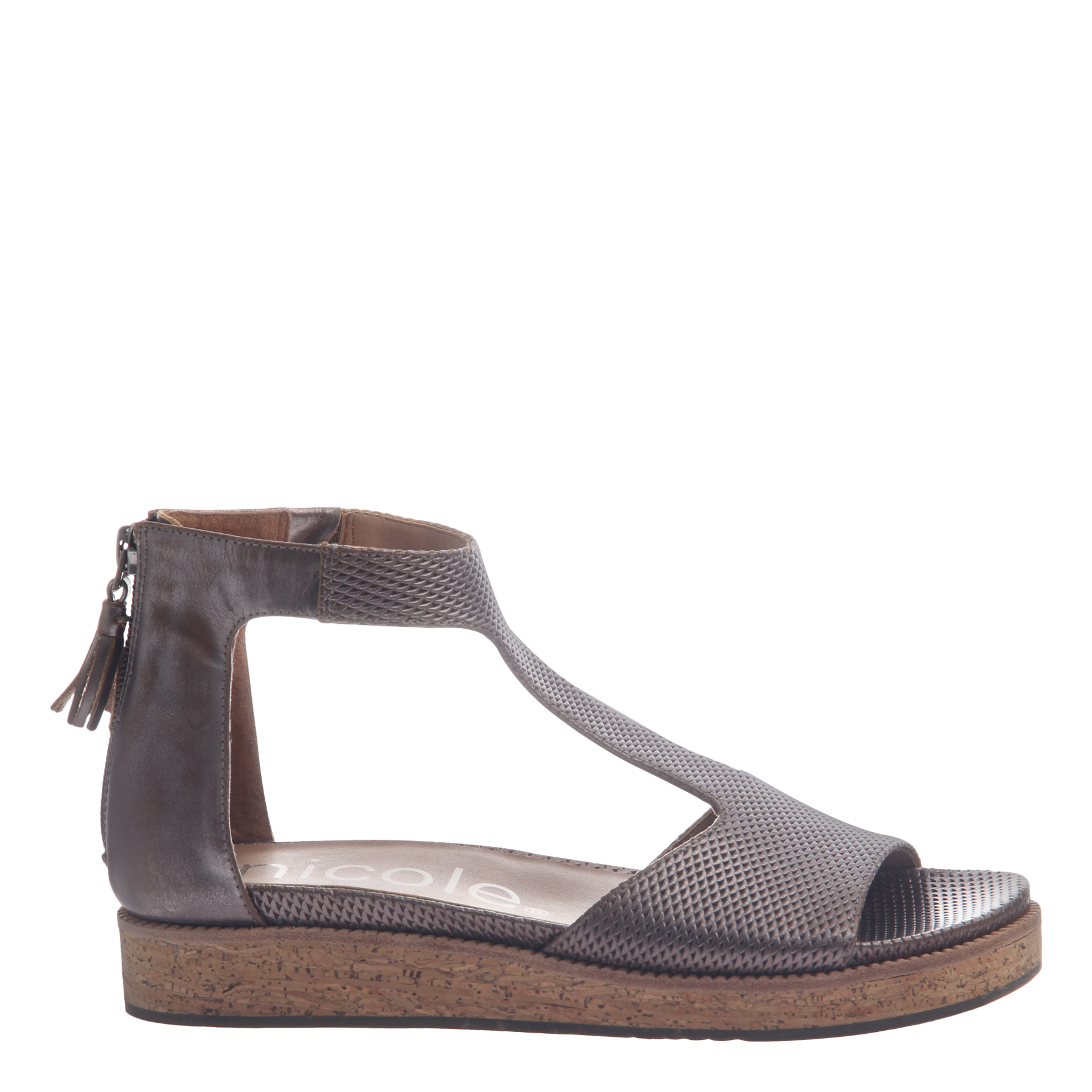 Nicole womens flat sandal lilou in pewter side view
