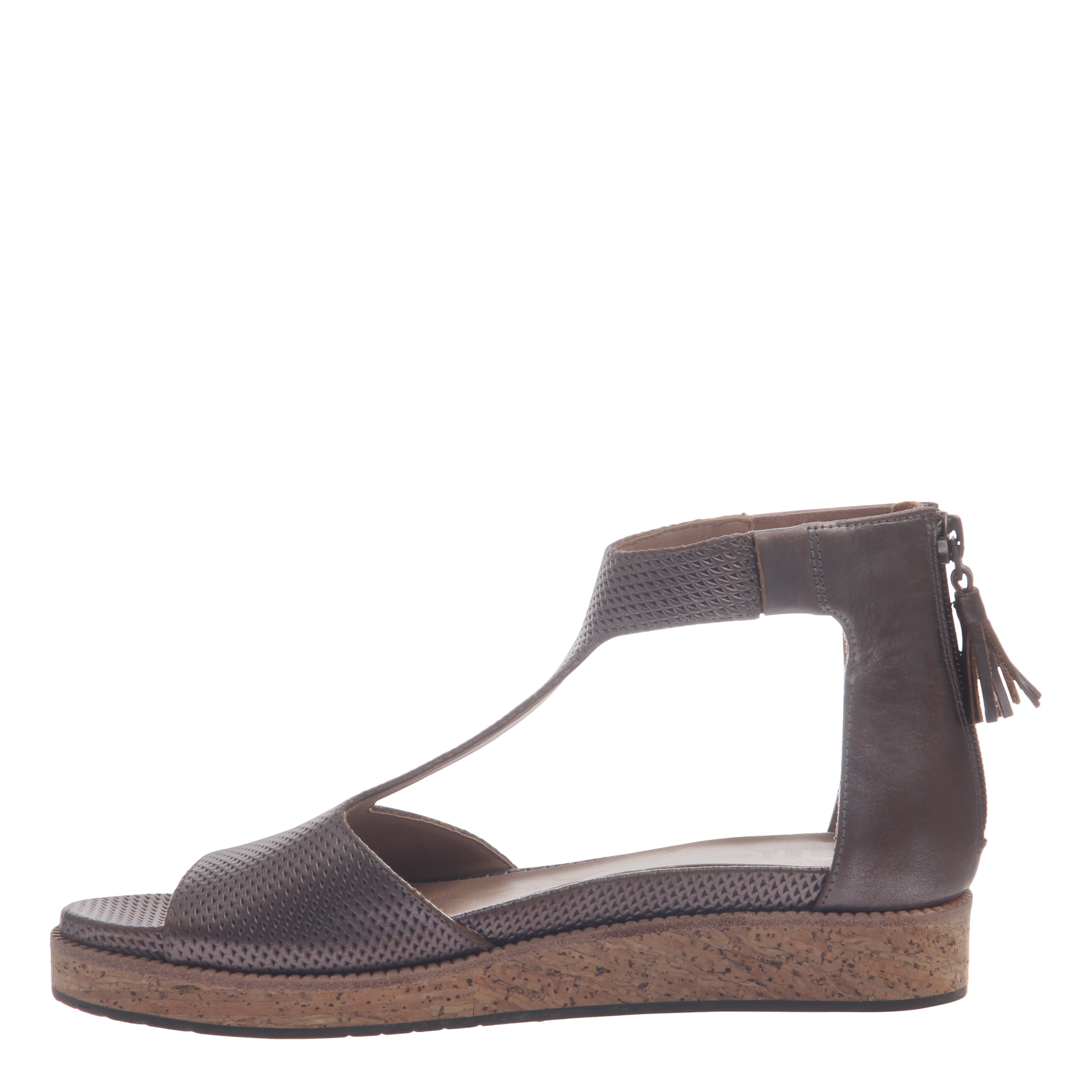 Nicole womens flat sandal lilou in pewter inside view