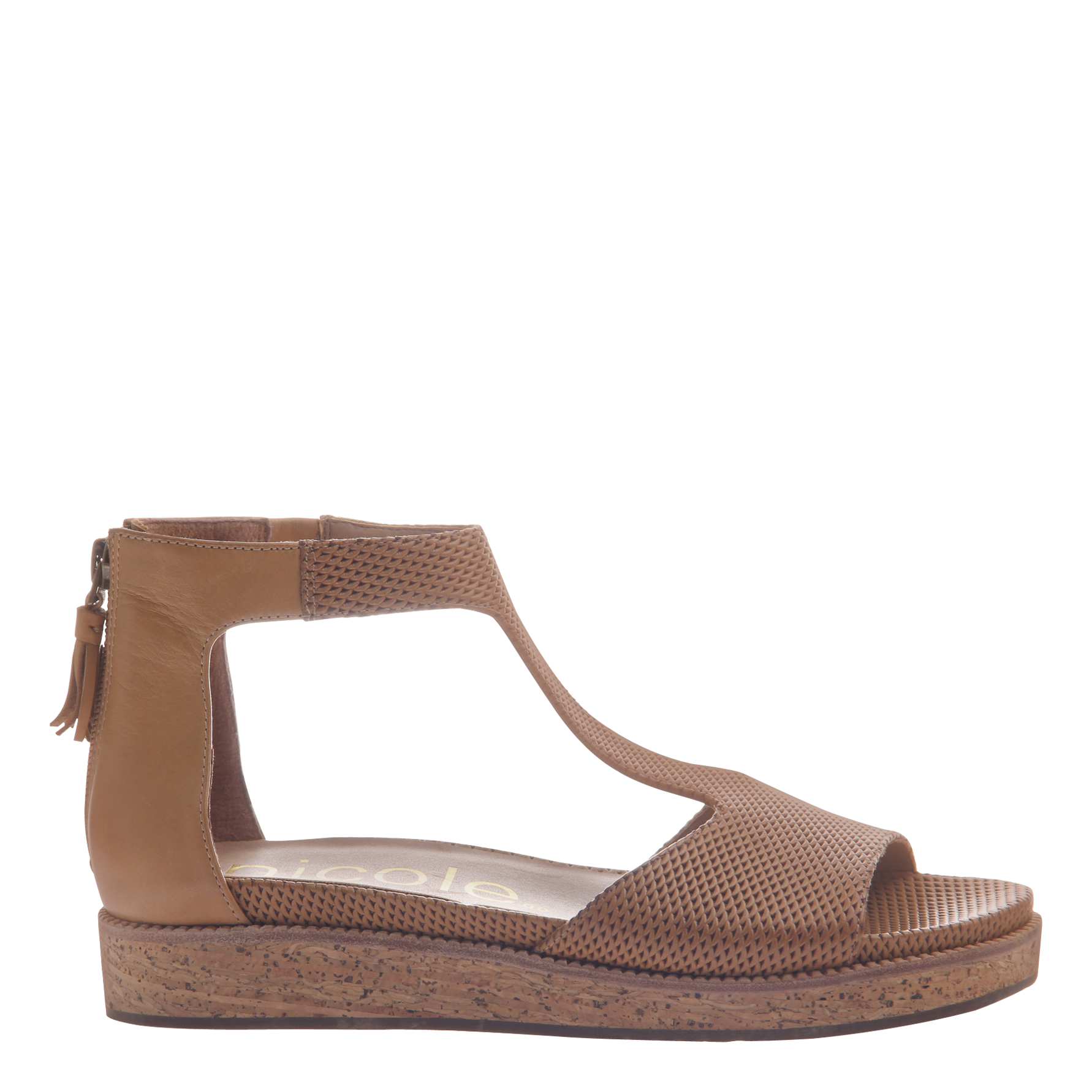 Nicole womens flat sandal lilou in senape side view
