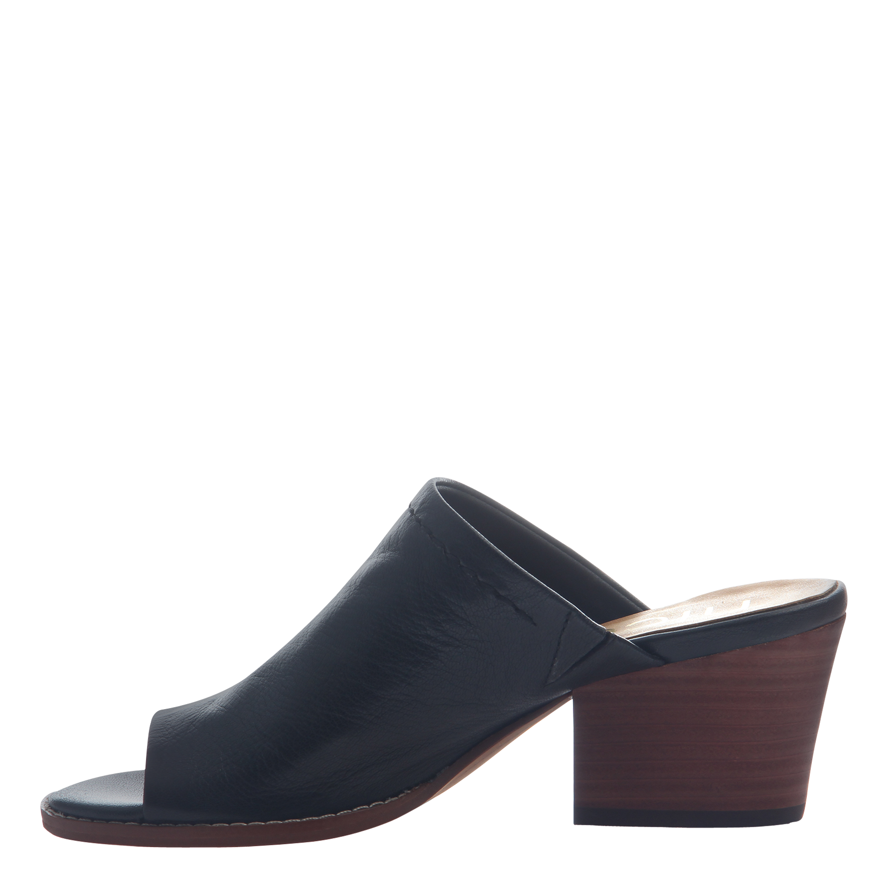 Nicole mule slide Carolina in black inside view