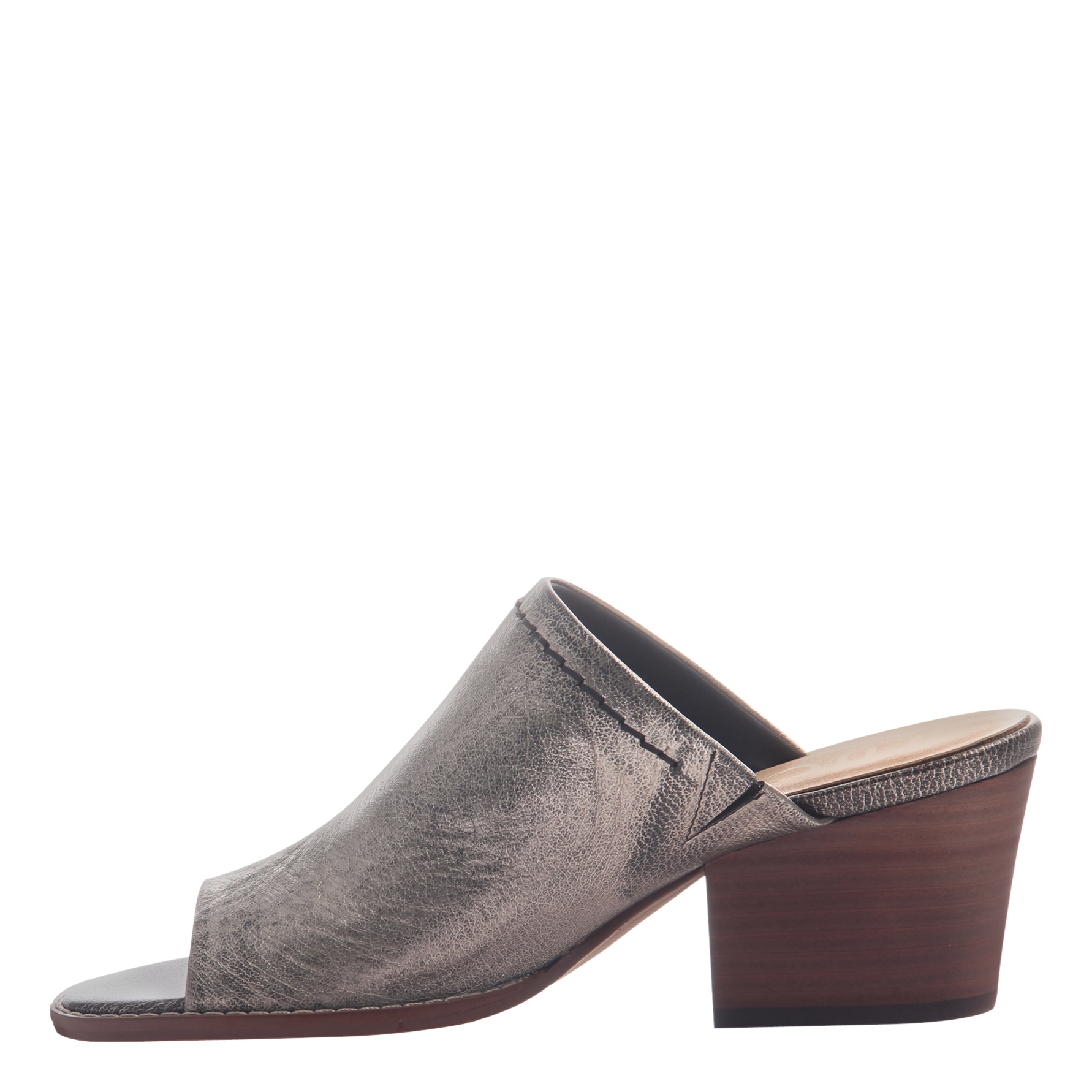 Womens mule slide Carolina in Pewter inside view