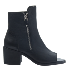 Womens open toe booties Nina in black side view