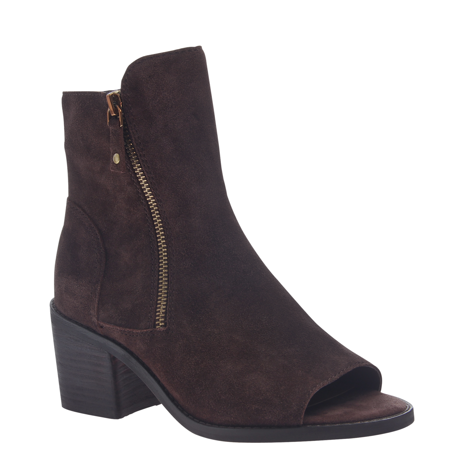 Womens open toe booties Nina in dark brown