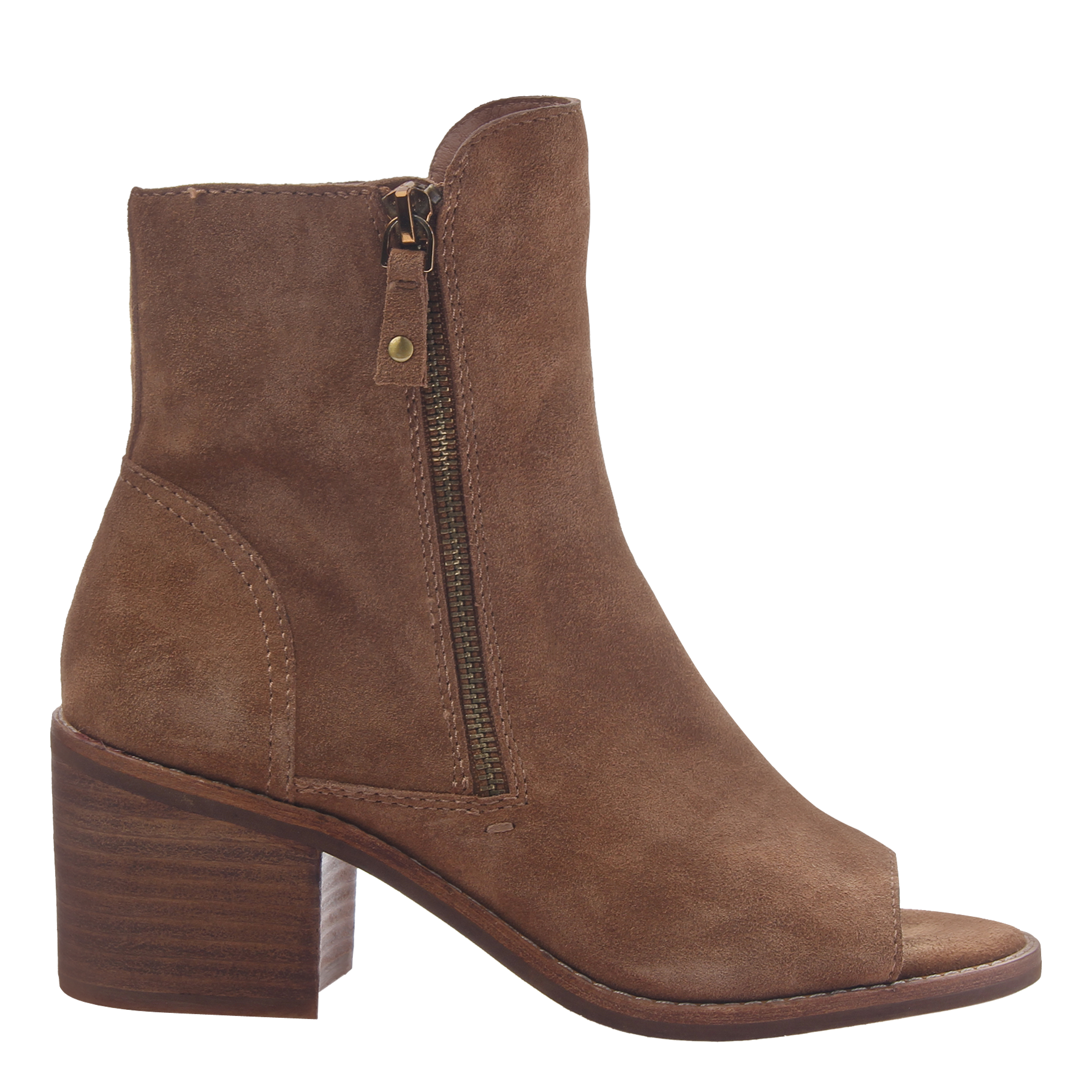 Womens open toe booties Nina in honey side view