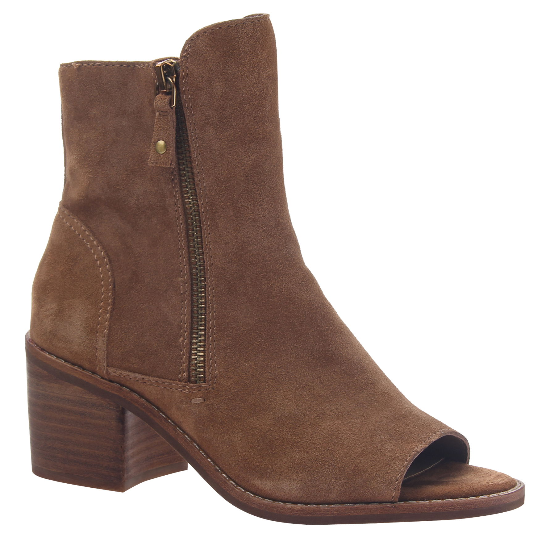 Womens open toe booties Nina in honey