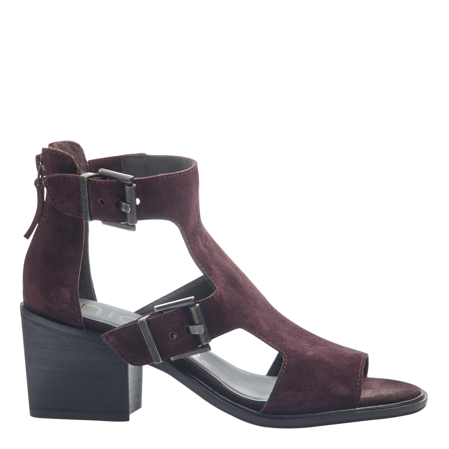 Womens heeled sandals Jahida in burgundy side view