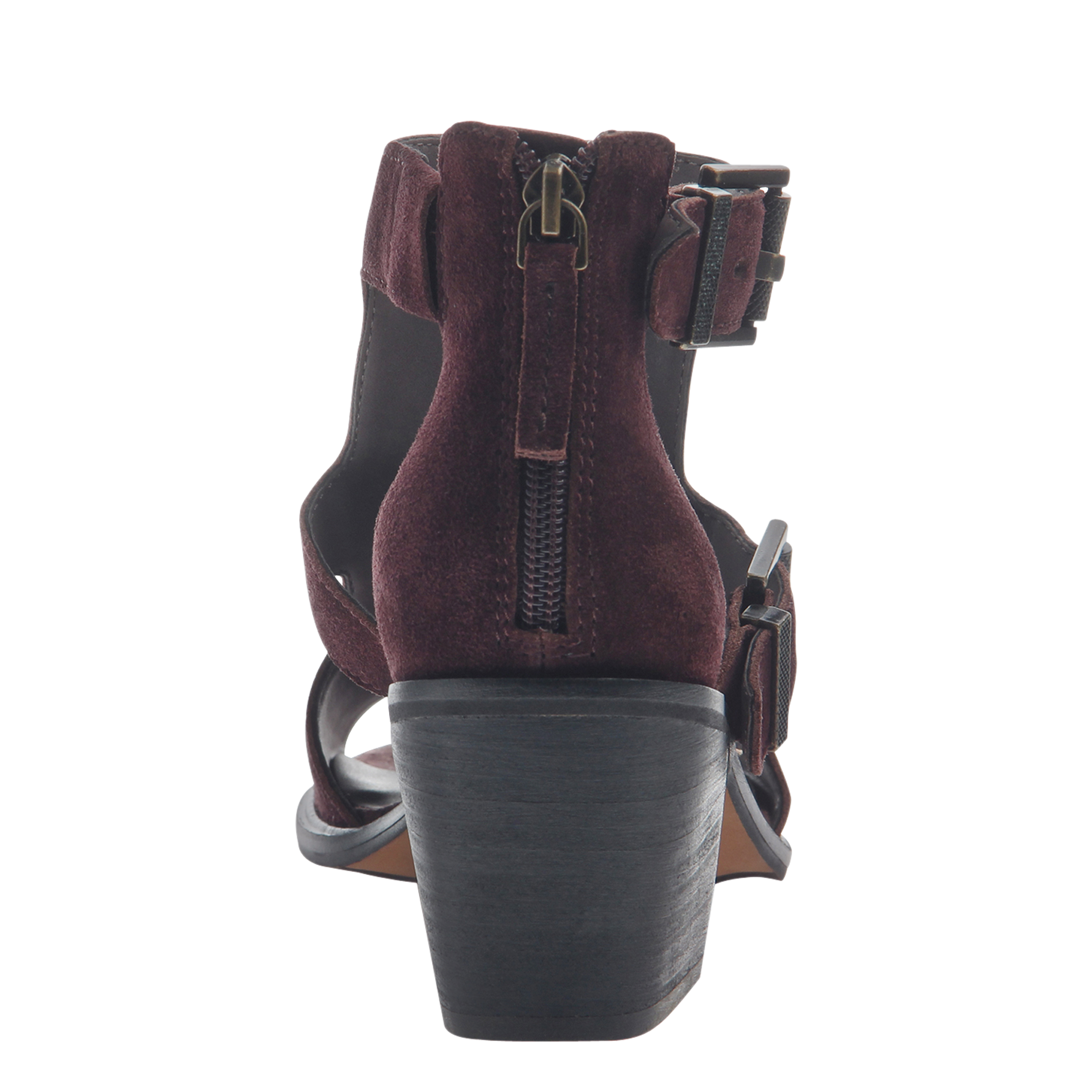 Womens heeled sandals Jahida in burgundy back view