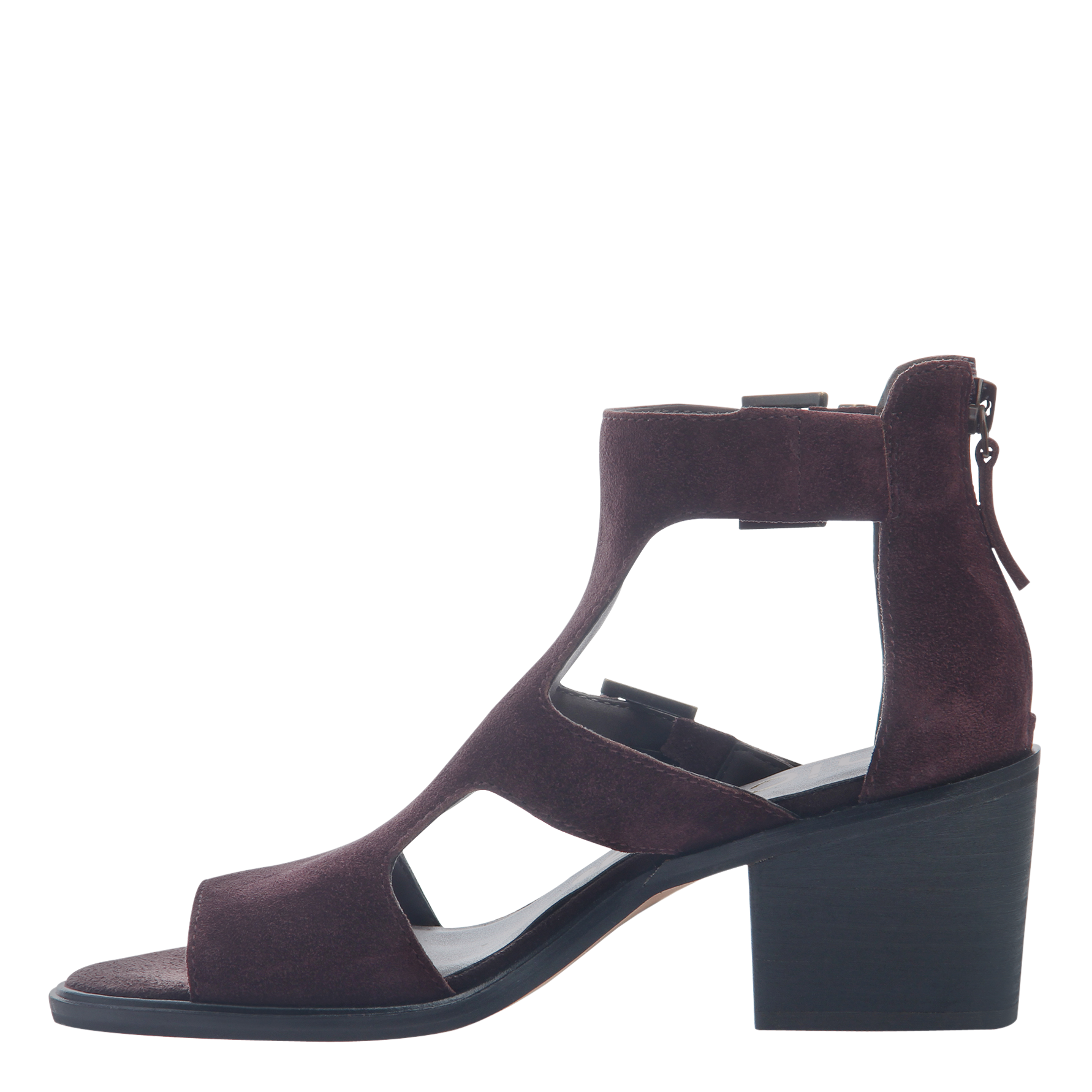 Womens heeled sandals Jahida in burgundy inside view