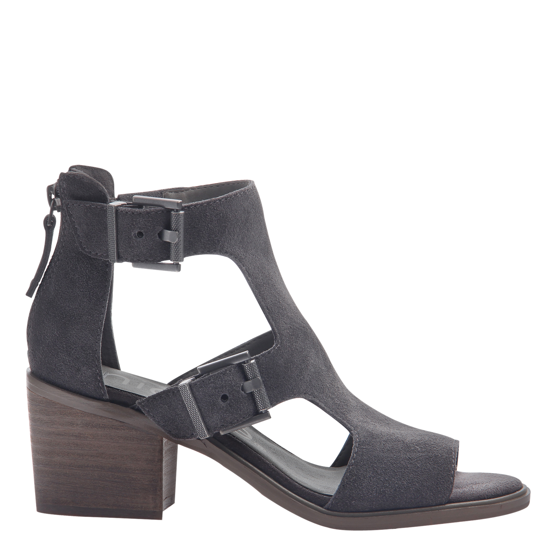 Womens heeled sandals in Jahida soft grey side view