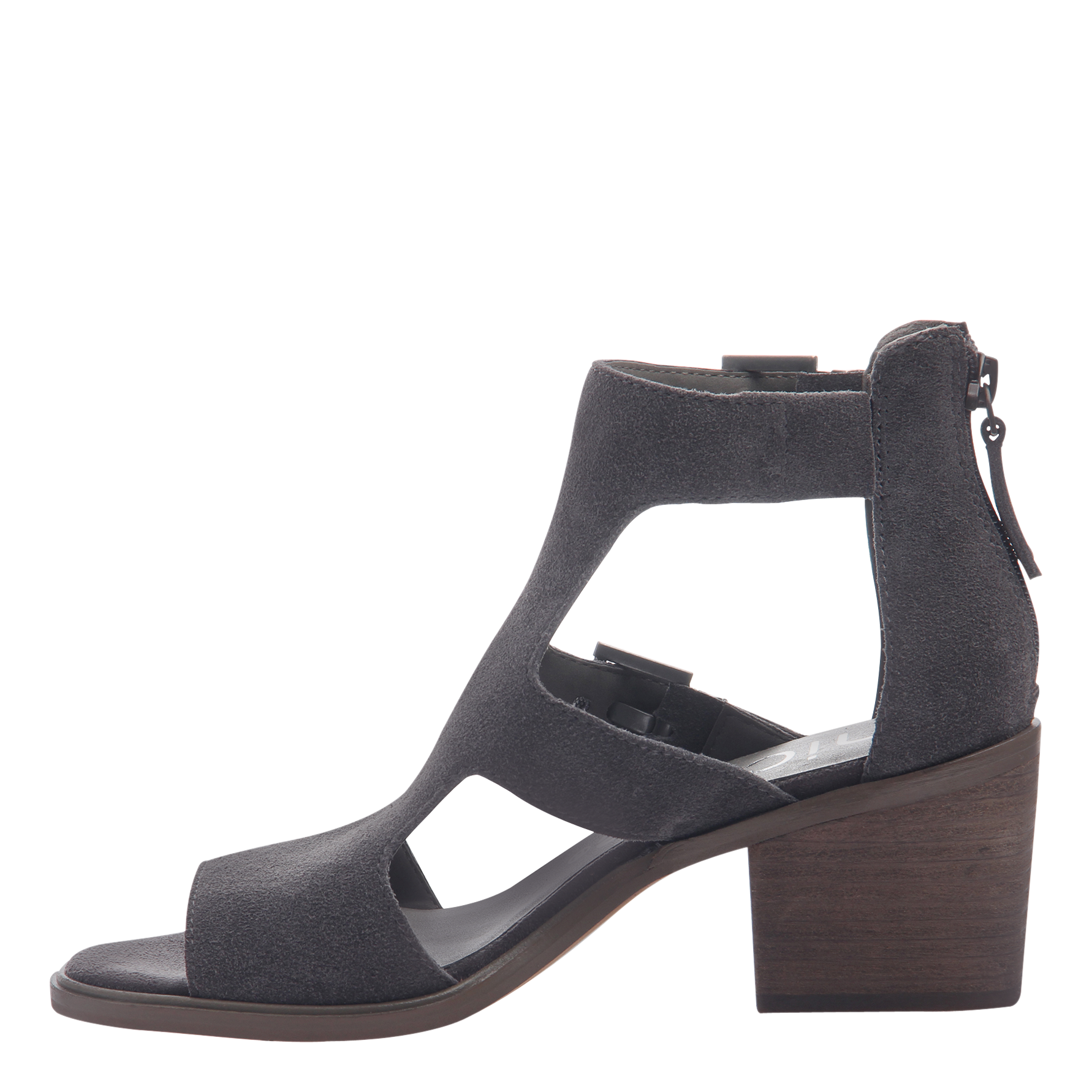 Womens heeled sandals in Jahida soft grey inside view