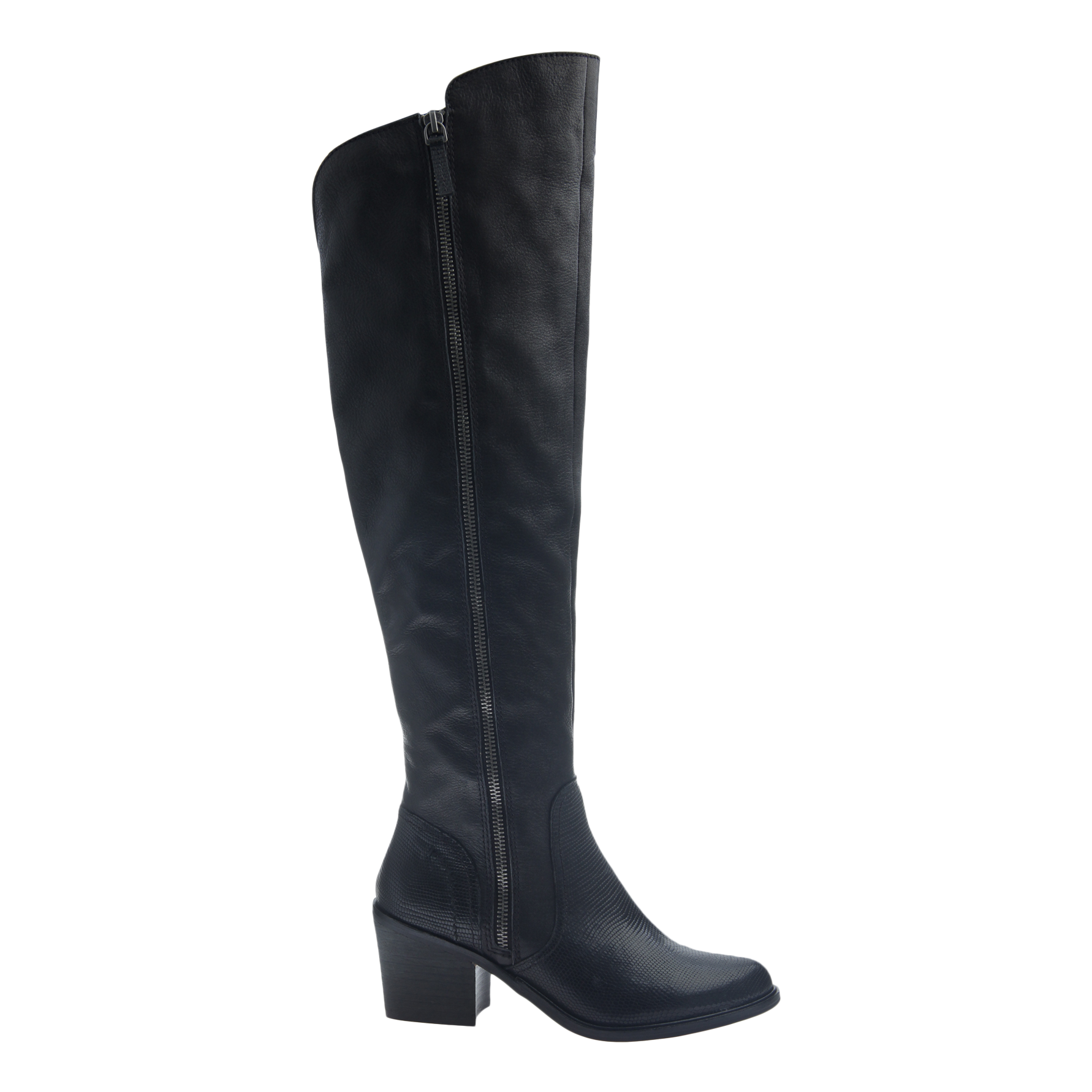 Womens tall over the knee boot Clooney in black  side view