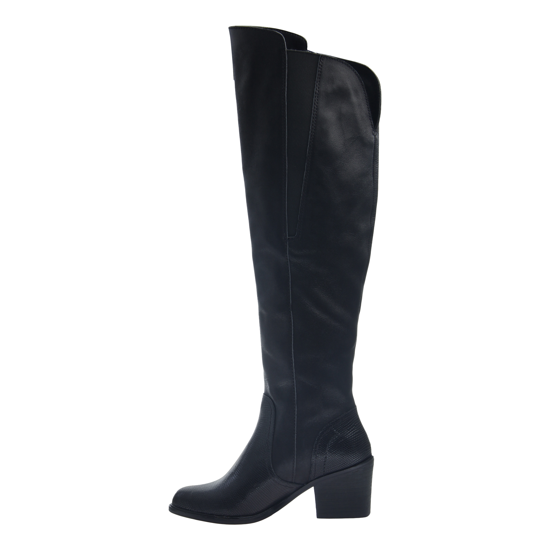 Womens tall over the knee boot Clooney in black inside view