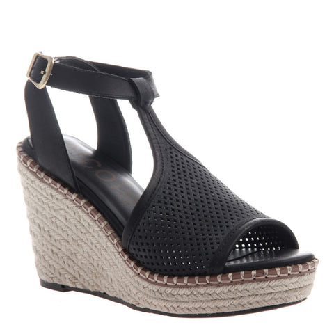 Nicole, Wren, Black, T-strap wedge