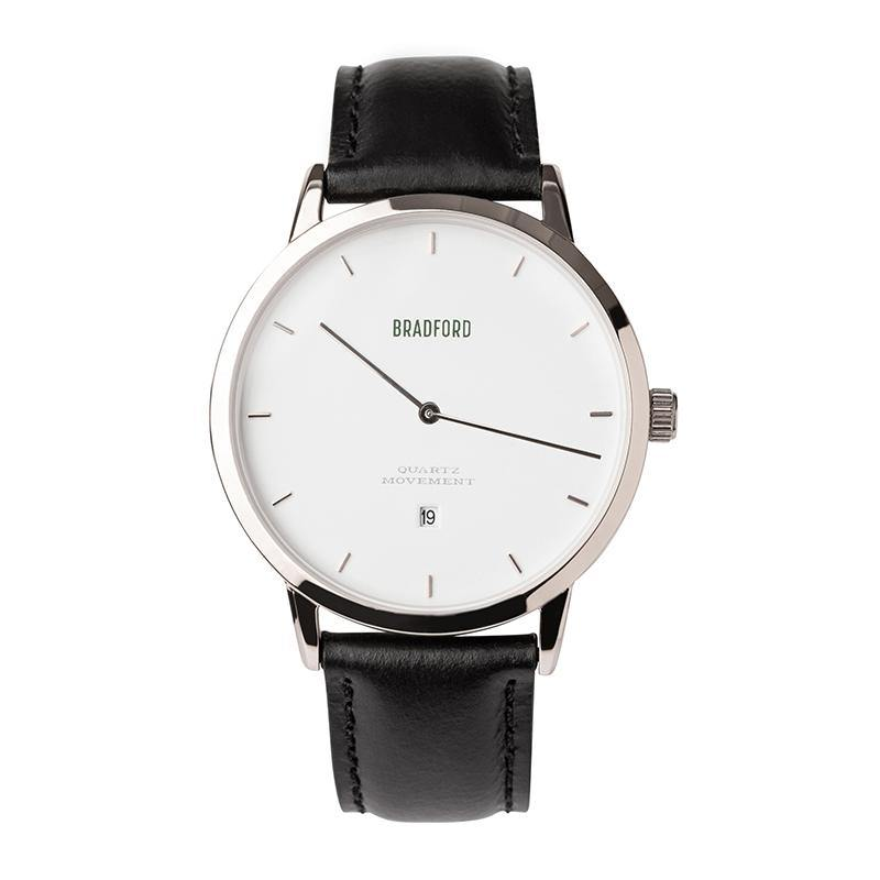 The Taylor, 40 mm ladies' (women's, unisex) wrist watch by Bradford Watch Co. In Polished Steel with a Black Genuine Leather Quick Release Strap.