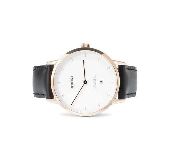The Taylor, 40 mm ladies' (women's, unisex) wrist watch by Bradford Watch Co. In Rose Gold with a Black Genuine Leather Quick Release Strap.