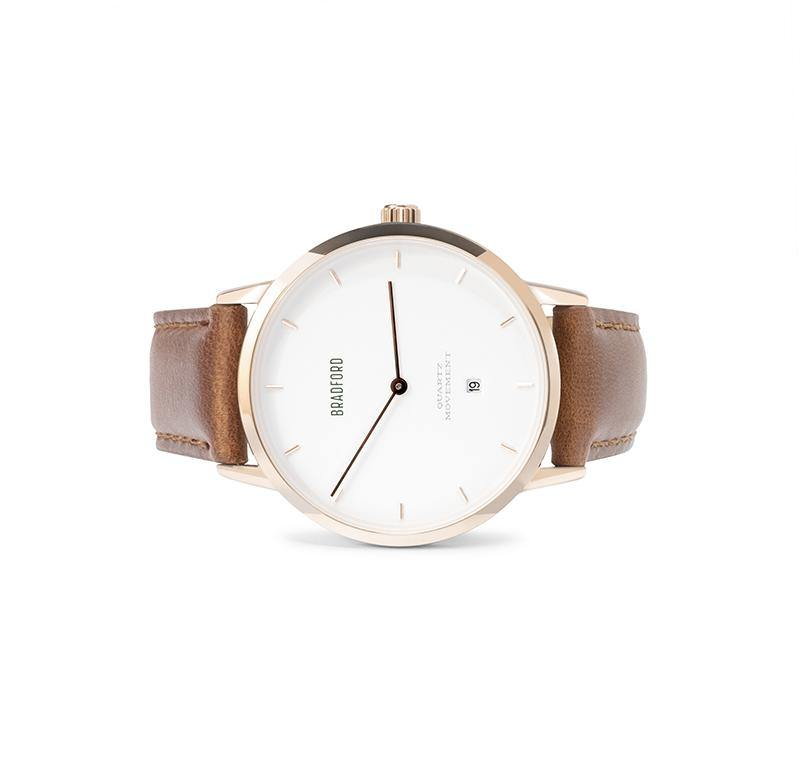 The Taylor, 40 mm ladies' (women's, unisex) wrist watch by Bradford Watch Co. In Rose Gold with a Brown Genuine Leather Quick Release Strap.