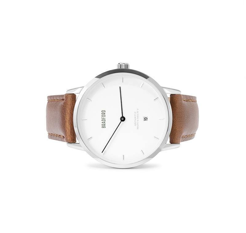 The Taylor, 40 mm ladies' (women's, unisex) wrist watch by Bradford Watch Co. In Polished Steel with a Brown Genuine Leather Quick Release Strap.