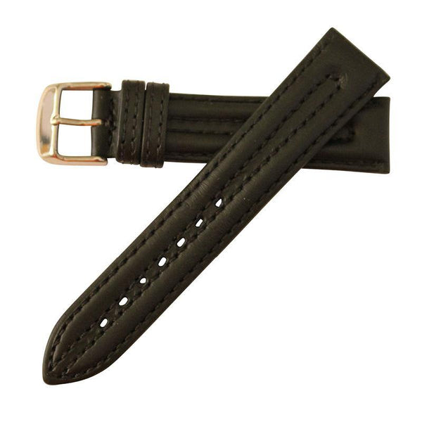 GENUINE OIL TAN LEATHER WATCH STRAP, STITCHED WITH DOUBLE PADDING