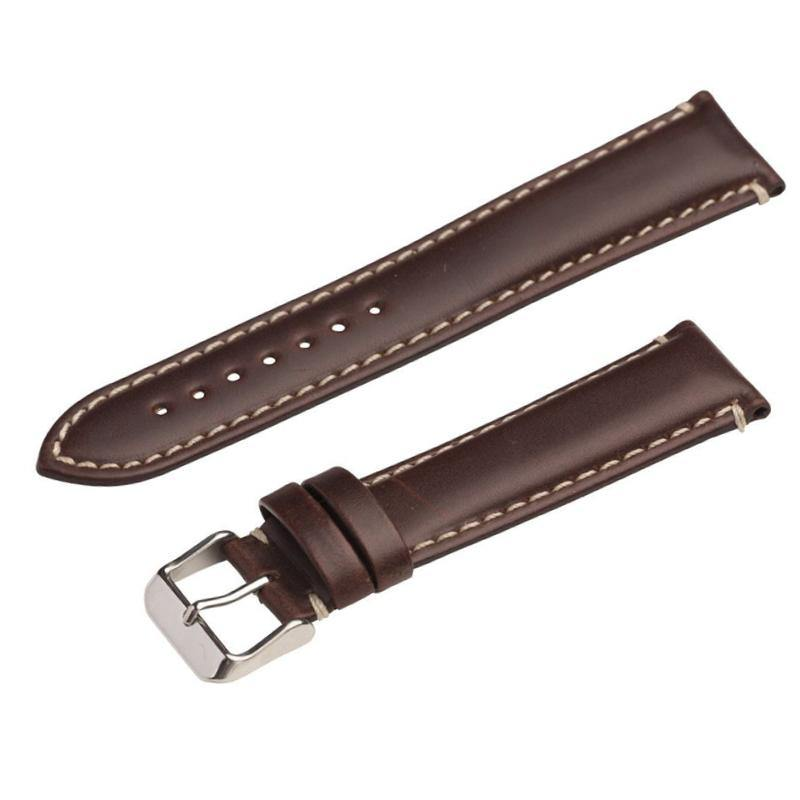 HEAVY PADDED OIL-TAN LEATHER WATCH STRAP