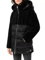 MACKAGE JUNIA WOMEN'S DOWN JACKET W/ WOOL TEDDY INSETS JUNIA-Black