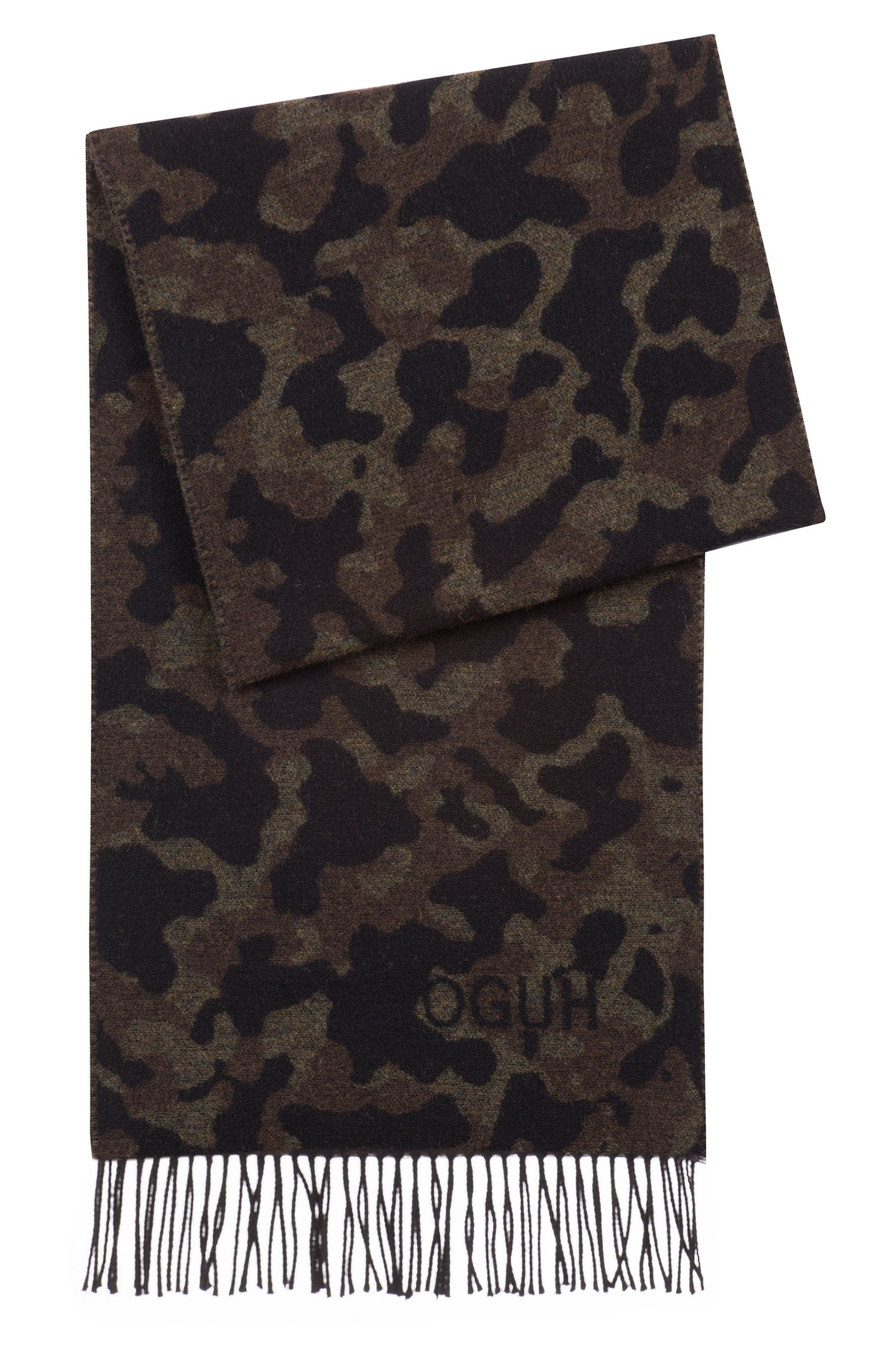 HUGO BOSS CAMOUFLAGE SCARF IN A BRUSHED-WOOL BLEND 50395718-961