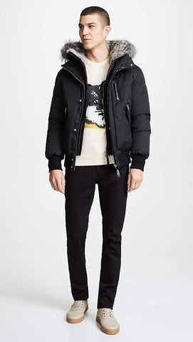 MACKAGE HIP LENGTH WINTER DOWN MEN'S PARKA WITH FUR DIXON-X -BLACK