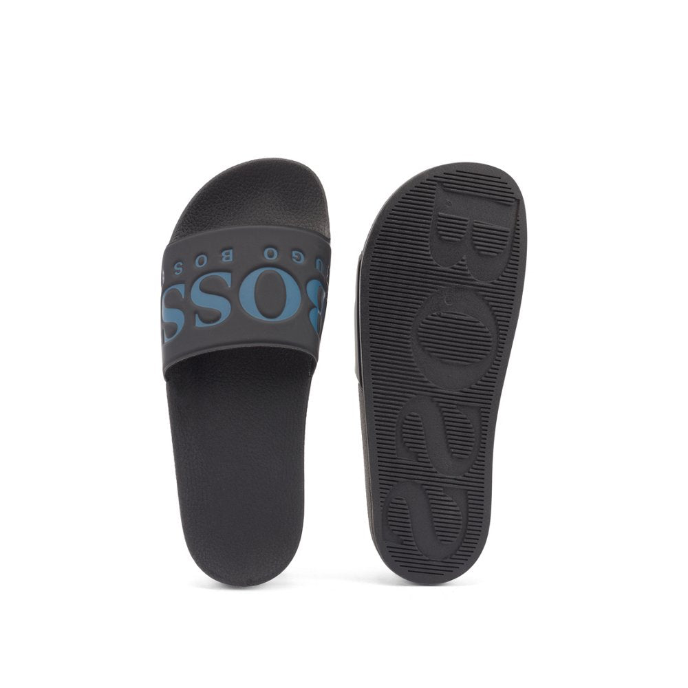 HUGO BOSS Mens Italian-made rubber slide sandals with contrast logo 50388496-008