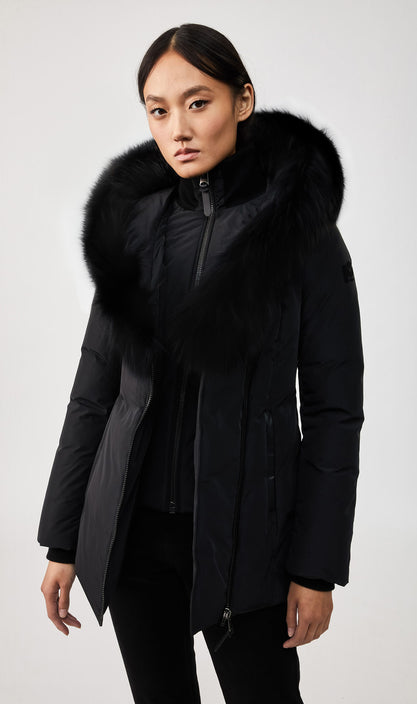 MACKAGE ADALI-BX WOMEN'S DOWN COAT W/ BLUE FOX FUR COLLAR ADALI-BX-Black