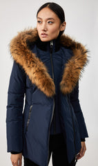 MACKAGE ADALI-F WOMEN'S DOWN COAT W/ NATURAL FUR COLLAR ADALI-F-Navy