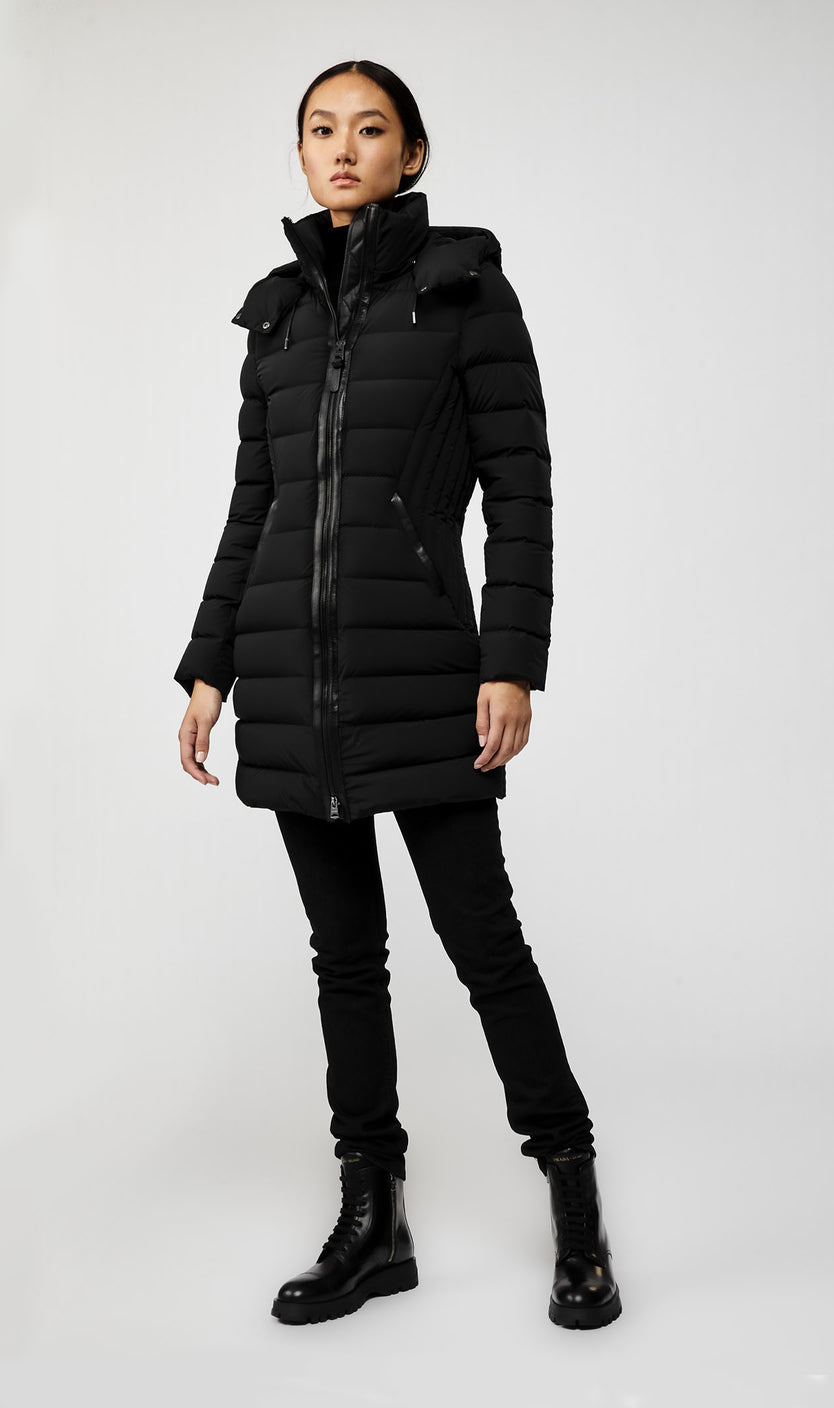 MACKAGE FARREN LIGHTWEIGHT DOWN WOMEN'S COAT W/ REMOVABLE HOOD FARREN-R-BL