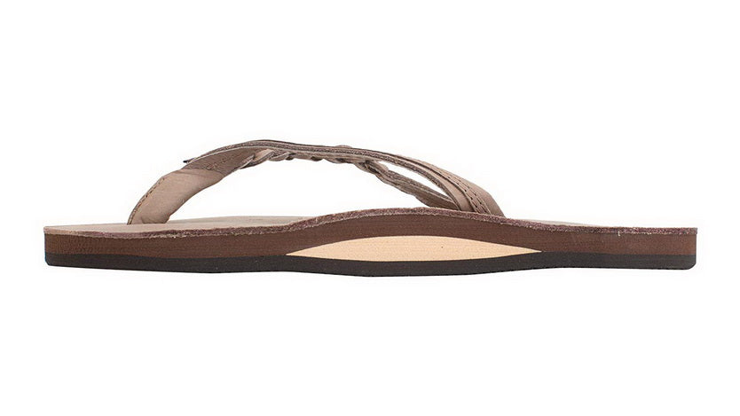 RAINBOW SANDALS FLIRTY BRAIDY - SINGLE LAYER PREMIER LEATHER WITH ARCH SUPPORT WITH A BRAIDED STRAP Womens  SANDALS 301ALTSB-DKBR