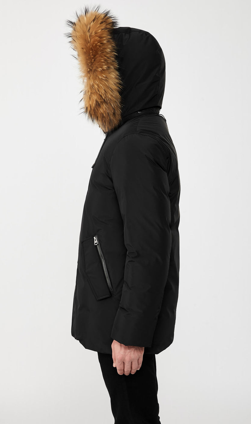 MACKAGE RAF DOWN MEN'S COAT W/ REMOVABLE NATURAL FUR TRIM & HOOD RAF-F-BLACK