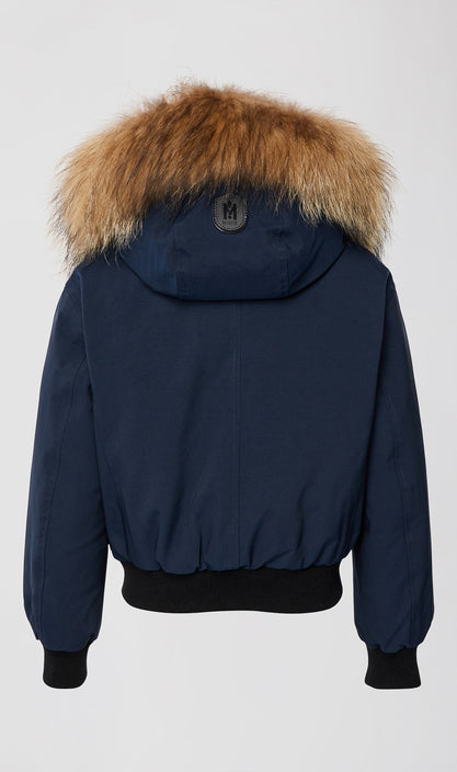MACKAGE DAX-TF KID'S DOWN BOMBER JACKET W/ REMOVABLE HOOD & NATURAL FUR TRIM DAX-TF-Navy