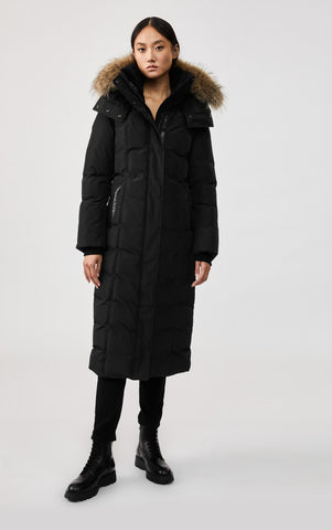 MACKAGE JADA MAXI LENGTH DOWN WOMEN'S COAT W/ REMOVABLE FUR TRIM JADA-R-BL