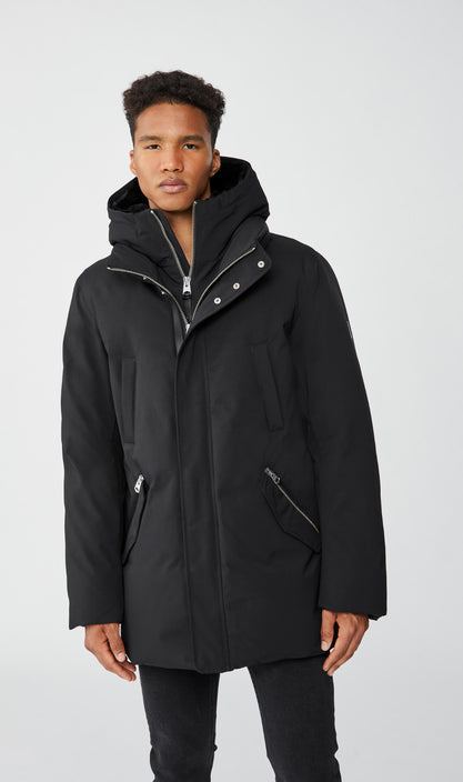 MACKAGE EDWARD-BX MEN'S DOWN COAT W/ REMOVABLE HOODED BIB & BLUE FOX FUR EDWARD-BX-Black/Black