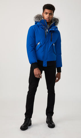 MACKAGE DIXON DOWN MEN'S BOMBER W/ REMOVABLE HOODED BIB & SILVERFOX FUR DIXON-XR-ROYAL