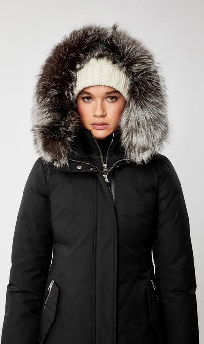MACKAGE HARLOWE-X WOMEN'S DOWN COAT W/ REMOVABLE SILVERFOX FUR HARLOWE-X-Black