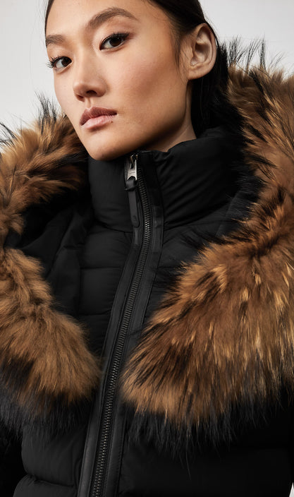 MACKAGE KADALINA-F WOMEN'S DOWN JACKET W/ NATURAL FUR COLLAR KADALINA-F-Black