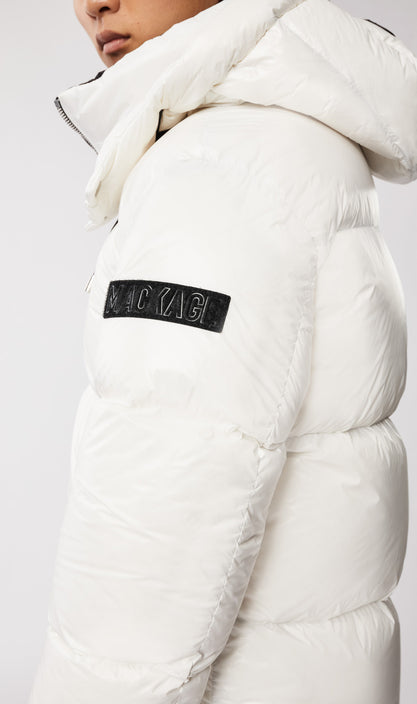 MACKAGE KENT MEN'S DOWN COAT W/ DETACHABLE HOOD KENT-Off White