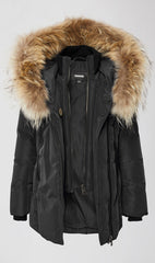 MACKAGE LEELEE-TF KID'S DOWN COAT W/ SIGNATURE NATURAL FUR COLLAR LEELEE-TF-Black