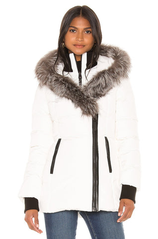 MACKAGE ADALI-XR WOMEN'S DOWN COAT W/ SILVERFOX FUR COLLAR ADALI-XR-Off White