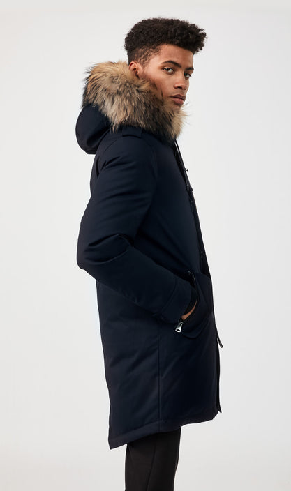 MACKAGE MORITZ-DR MEN'S DOWN PARK W/ REMOVABLE NATURAL FUR TRIM MORITZ-DR-Navy