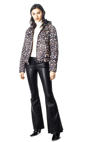 GENERATION LOVE HOODED LEOPARD PRINT PUFFER F19312