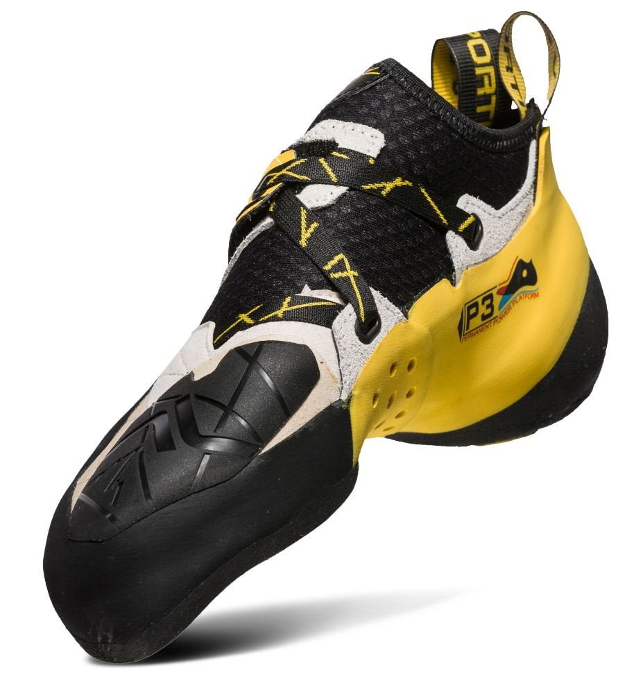 La Sportiva SOLUTION  Mens Climbing  Shoes WhiteYellow 20G-000100