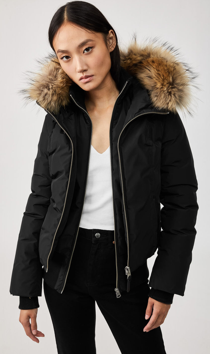 MACKAGE ROMANE DOWN WOMEN'S JACKET W/ REMOVABLE NATURAL FUR ROMANE-R-BLACK