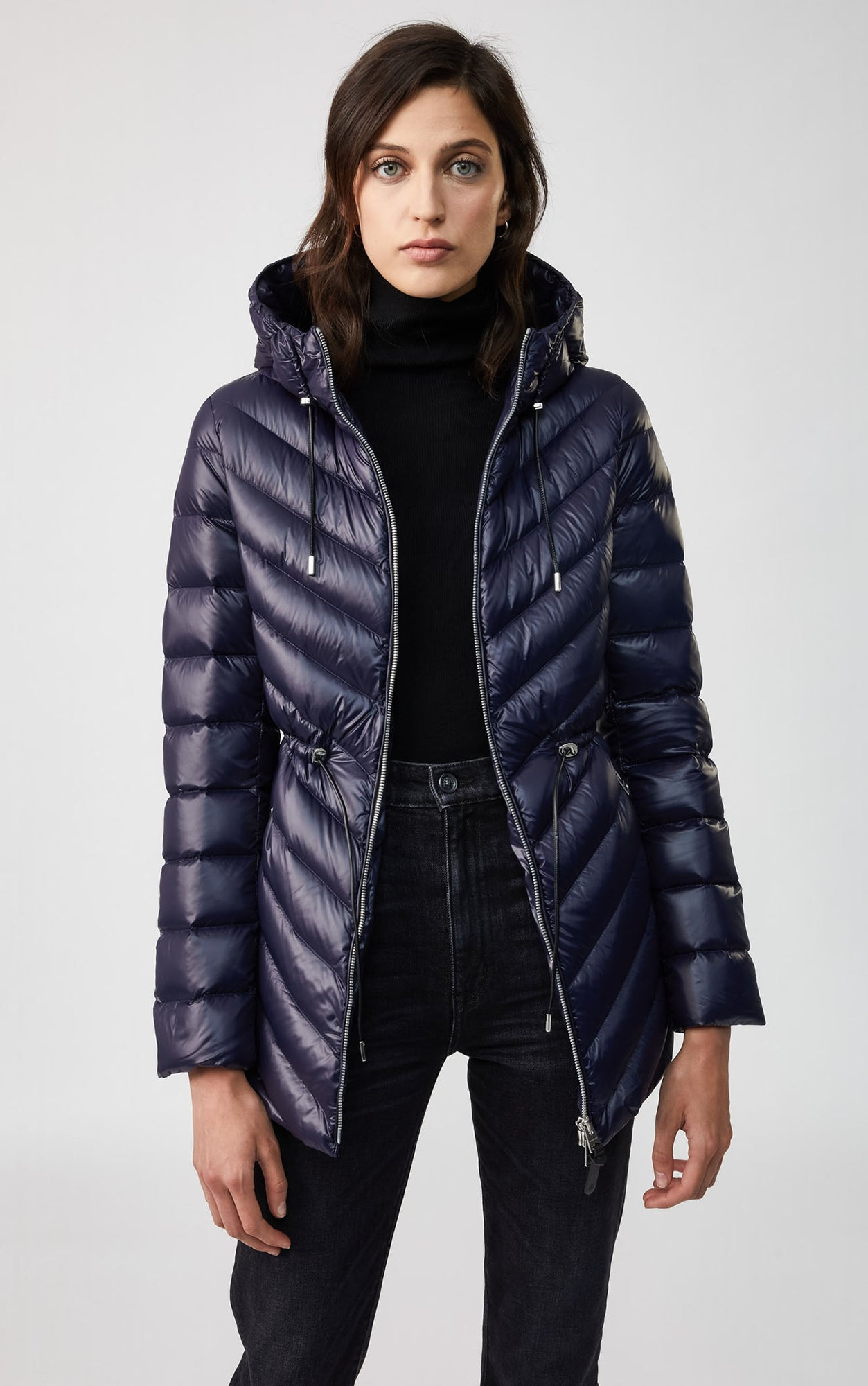 Mackage hip length lightweight down jacket with hood Womens TARA-Navy