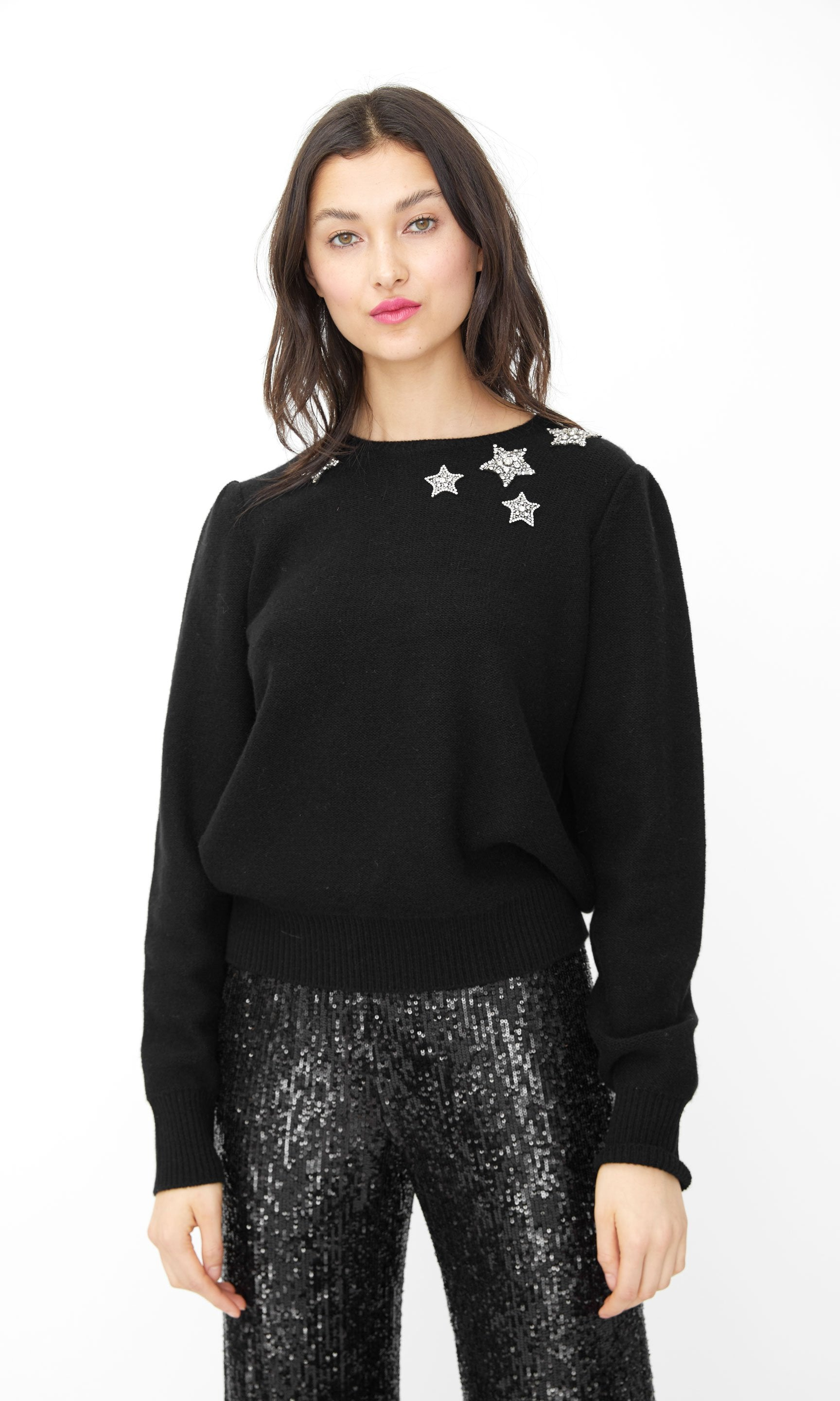 Generation Love Beaded Star Women's Sweater H19ShaeStarsBlack