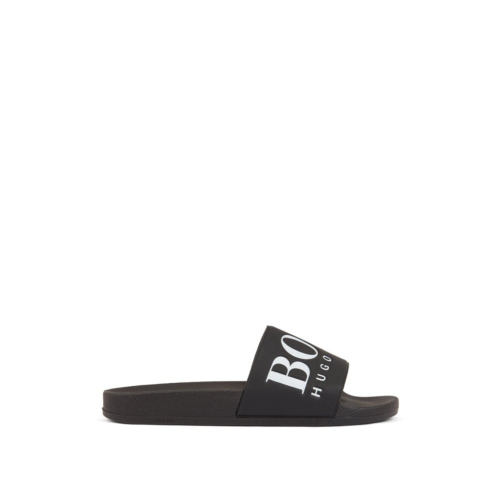 Hugo Boss Mens Italian-made rubber slide sandals with contrast logo 50388496-401